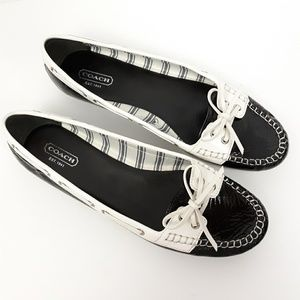 COACH 'Percy' Black & White Loafers w/ Laces 9B